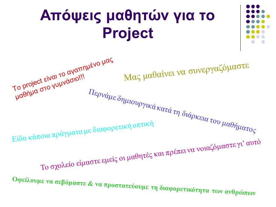 Απόψεις μαθητών για το Project To project είναι το αγαπημένο μας μαθήμα στο γυμνάσιο!!! Μας μαθαίνει να συνεργαζόμαστε Περνάμε δημιουργικά κατά τη διά