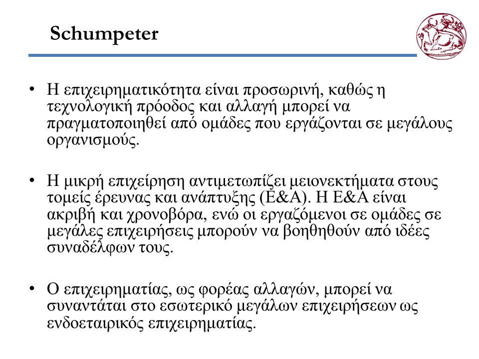 Schumpeter Η επιχειρηματικότητα είναι προσωρινή, καθώς η τεχνολογική πρόοδος και αλλαγή μπορεί να πραγματοποιηθεί από ομάδες που εργάζονται σε μεγάλους οργανισμούς.