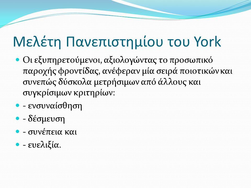 Μελέτη Πανεπιστηµίου του York Οι εξυπηρετούµενοι, αξιολογώντας το προσωπικό παροχής φροντίδας, ανέφεραν µία σειρά ποιοτικών και συνεπώς δύσκολα µετρήσιµων από άλλους και συγκρίσιµων κριτηρίων: - ενσυναίσθηση - δέσµευση - συνέπεια και - ευελιξία.