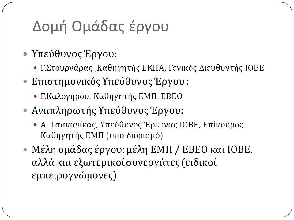 Δομή Ομάδας έργου Υπεύθυνος Έργου : Γ. Στουρνάρας, Καθηγητής ΕΚΠΑ, Γενικός Διευθυντής ΙΟΒΕ Επιστημονικός Υπεύθυνος Έργου : Γ. Καλογήρου, Καθηγητής ΕΜΠ