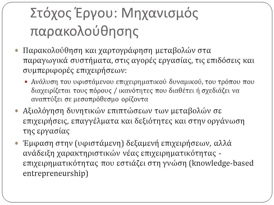 Αποτελέσματα μηχανισμού Καλύτερη πληροφόρηση που θα επιτρέψει προβλέψεις και ανάπτυξη early warning indicators για τις αλλαγές στα παραγωγικά συστήματα και σε ομάδες κλάδων της ελληνικής οικονομίας Συμβολή σε έναν ουσιαστικό δημόσιο λόγο και όχι απλώς σε καταγγελτικές θέσεις : φυγή προς τα εμπρός Συμβολή στο σχεδιασμό κατάλληλων παρεμβάσεων και πολιτικών που υποστηρίζουν / επηρεάζουν αυτές τις αλλαγές Σε επίπεδο δημόσιων πολιτικών Αλλά κυρίως σε επίπεδο επιχειρηματικών στρατηγικών Λήψη καλύτερων αποφάσεων για ποιοι κλάδοι, ποιες περιοχές, ποιες ειδικότητες και δεξιότητες έχουν μεγαλύτερες πιθανότητες να δημιουργήσουν ευκαιρίες για ταχύτερη ανάπτυξη και υψηλότερη απασχόληση, ελλείψεις καταρτισμένου ανθρώπινου κεφαλαίου σήμερα και δυνητικά στο μέλλον