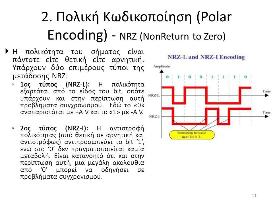 2. Πολική Κωδικοποίηση (Polar Encoding) - NRZ (NonReturn to Zero)  Η πολικότητα του σήματος είναι πάντοτε είτε θετική είτε αρνητική. Υπάρχουν δύο επι