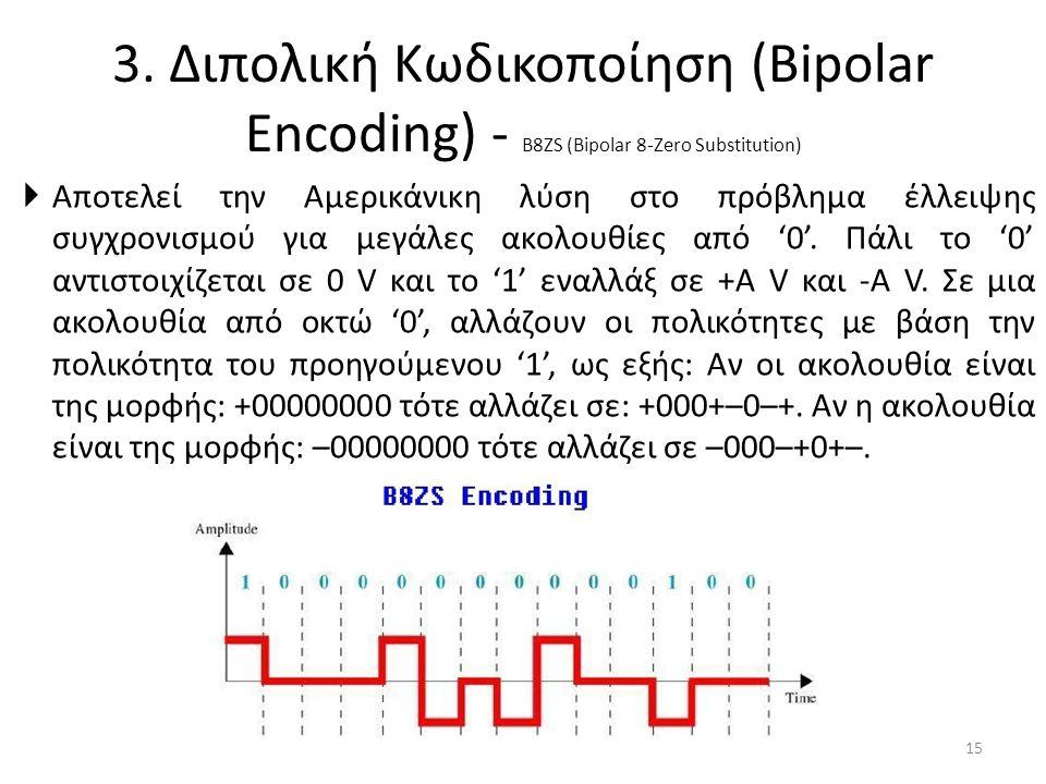 3. Διπολική Κωδικοποίηση (Bipolar Encoding) - B8ZS (Bipolar 8-Zero Substitution)  Αποτελεί την Αμερικάνικη λύση στο πρόβλημα έλλειψης συγχρονισμού γι