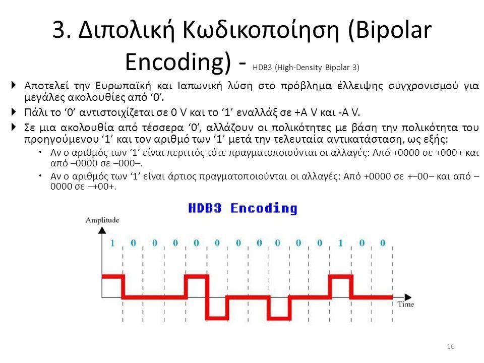 3. Διπολική Κωδικοποίηση (Bipolar Encoding) - HDB3 (High-Density Bipolar 3)  Αποτελεί την Ευρωπαϊκή και Ιαπωνική λύση στο πρόβλημα έλλειψης συγχρονισ