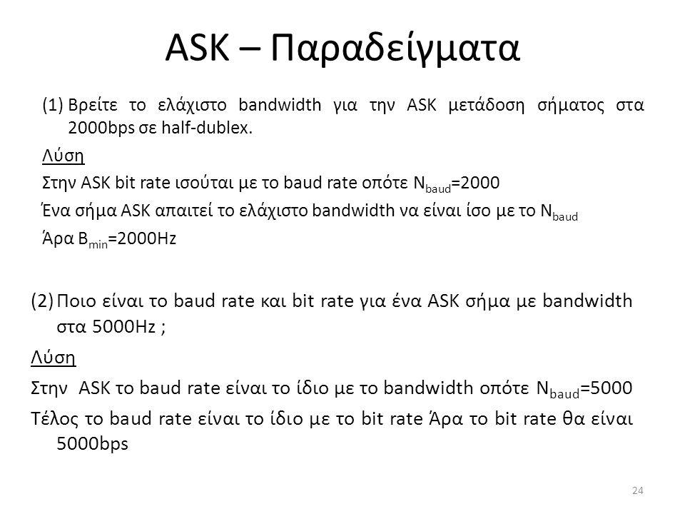 ASK – Παραδείγματα (1)Βρείτε το ελάχιστο bandwidth για την ASK μετάδοση σήματος στα 2000bps σε half-dublex.