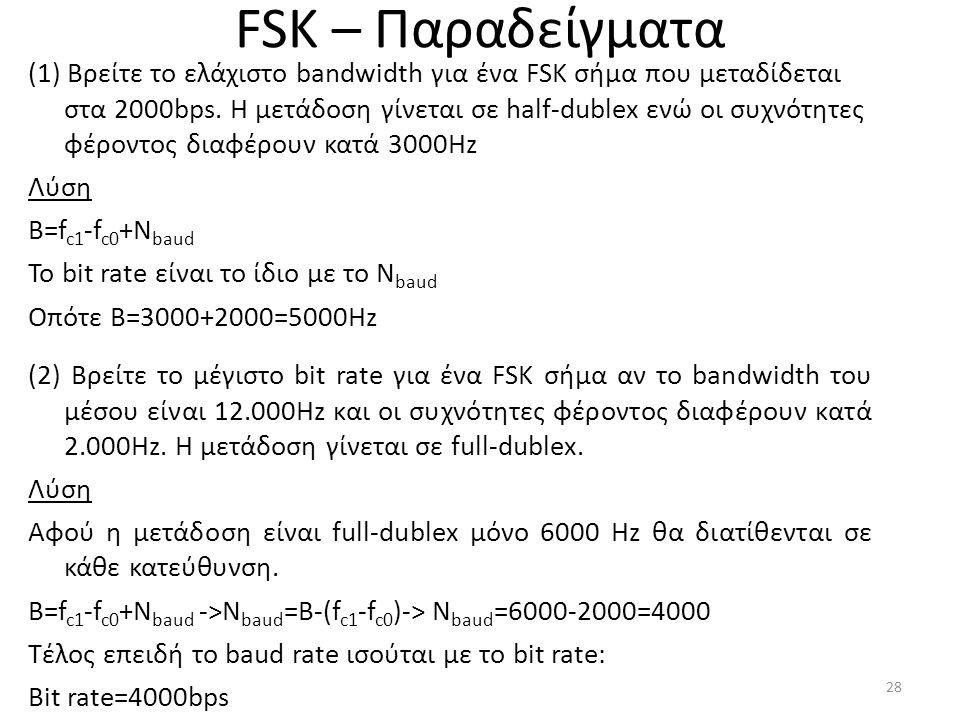 FSK – Παραδείγματα (1) Βρείτε το ελάχιστο bandwidth για ένα FSK σήμα που μεταδίδεται στα 2000bps.