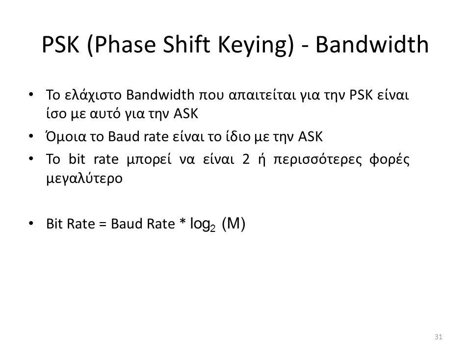 PSK (Phase Shift Keying) - Bandwidth 31 Το ελάχιστο Bandwidth που απαιτείται για την PSK είναι ίσο με αυτό για την ASK Όμοια το Baud rate είναι το ίδιο με την ASK Το bit rate μπορεί να είναι 2 ή περισσότερες φορές μεγαλύτερο Bit Rate = Baud Rate * log 2 (M)