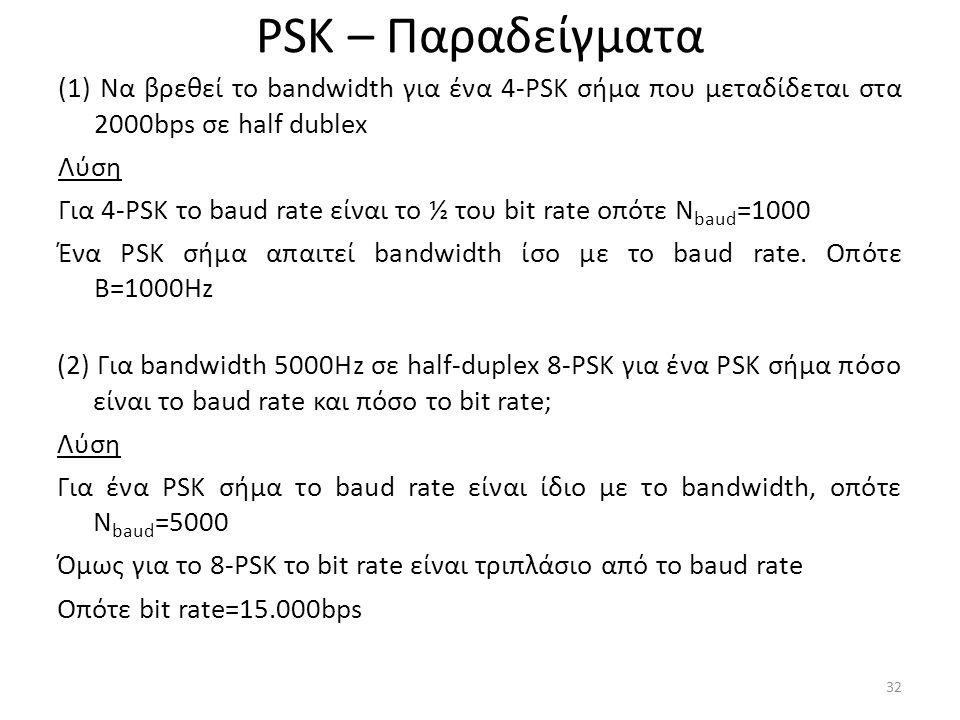 PSK – Παραδείγματα (1) Να βρεθεί το bandwidth για ένα 4-PSK σήμα που μεταδίδεται στα 2000bps σε half dublex Λύση Για 4-PSK το baud rate είναι το ½ του bit rate οπότε N baud =1000 Ένα PSK σήμα απαιτεί bandwidth ίσο με το baud rate.
