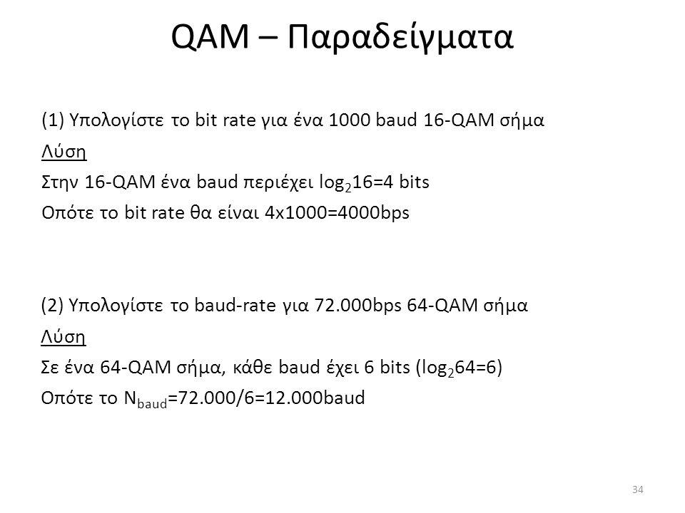 QAM – Παραδείγματα (1) Υπολογίστε το bit rate για ένα 1000 baud 16-QAM σήμα Λύση Στην 16-QAM ένα baud περιέχει log 2 16=4 bits Οπότε το bit rate θα είναι 4x1000=4000bps 34 (2) Υπολογίστε το baud-rate για 72.000bps 64-QAM σήμα Λύση Σε ένα 64-QAM σήμα, κάθε baud έχει 6 bits (log 2 64=6) Οπότε το N baud =72.000/6=12.000baud