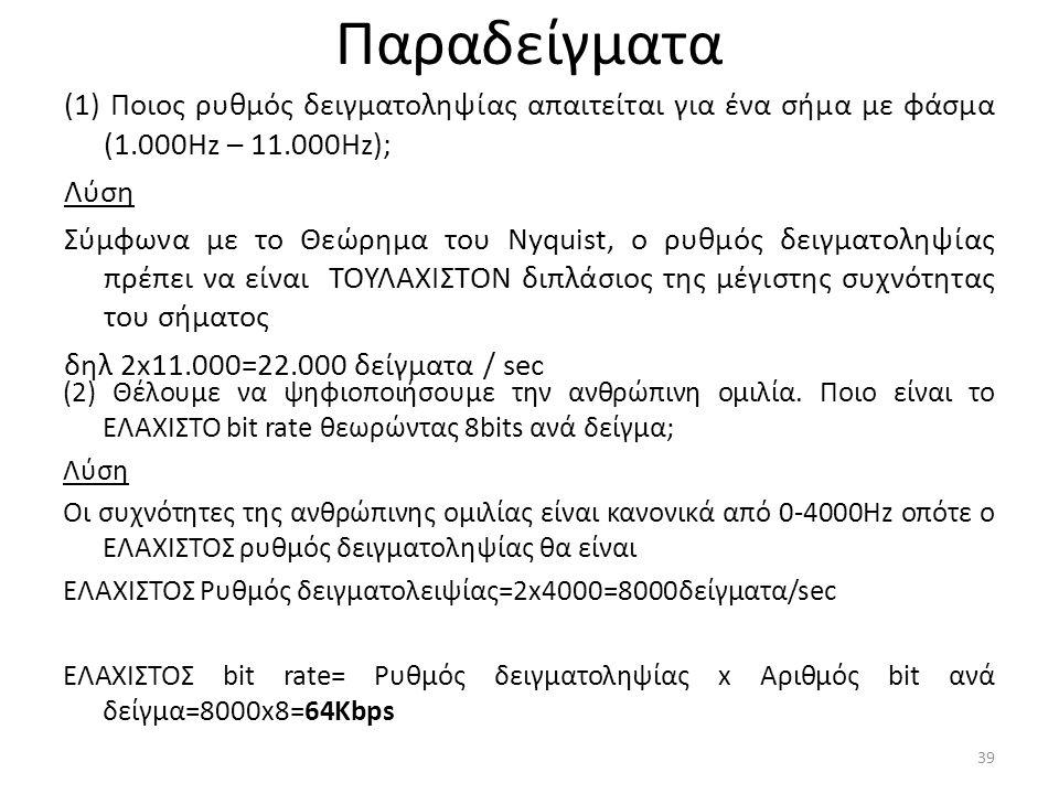 Παραδείγματα (1) Ποιος ρυθμός δειγματοληψίας απαιτείται για ένα σήμα με φάσμα (1.000Hz – 11.000Hz); Λύση Σύμφωνα με το Θεώρημα του Nyquist, o ρυθμός δειγματοληψίας πρέπει να είναι ΤΟΥΛΑΧΙΣΤΟΝ διπλάσιος της μέγιστης συχνότητας του σήματος δηλ 2x11.000=22.000 δείγματα / sec 39 (2) Θέλουμε να ψηφιοποιήσουμε την ανθρώπινη ομιλία.