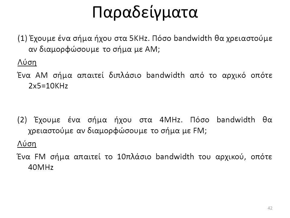 (1) Έχουμε ένα σήμα ήχου στα 5KHz.