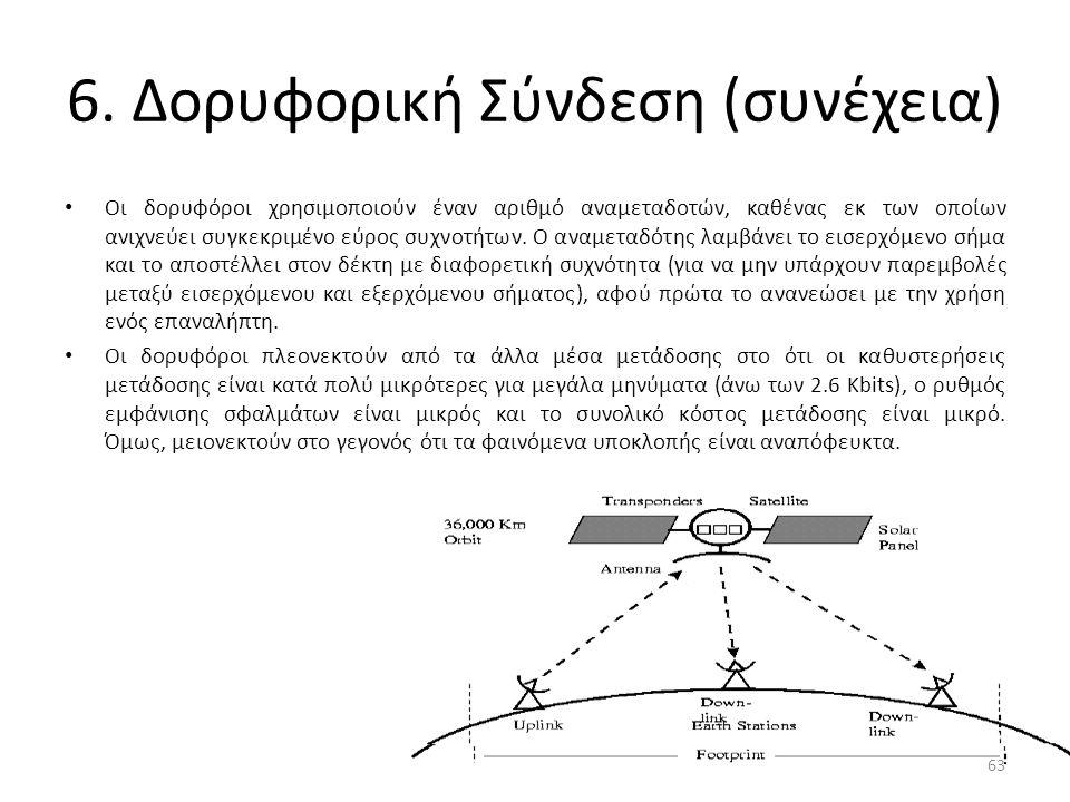 6. Δορυφορική Σύνδεση (συνέχεια) Οι δορυφόροι χρησιμοποιούν έναν αριθμό αναμεταδοτών, καθένας εκ των οποίων ανιχνεύει συγκεκριμένο εύρος συχνοτήτων. Ο
