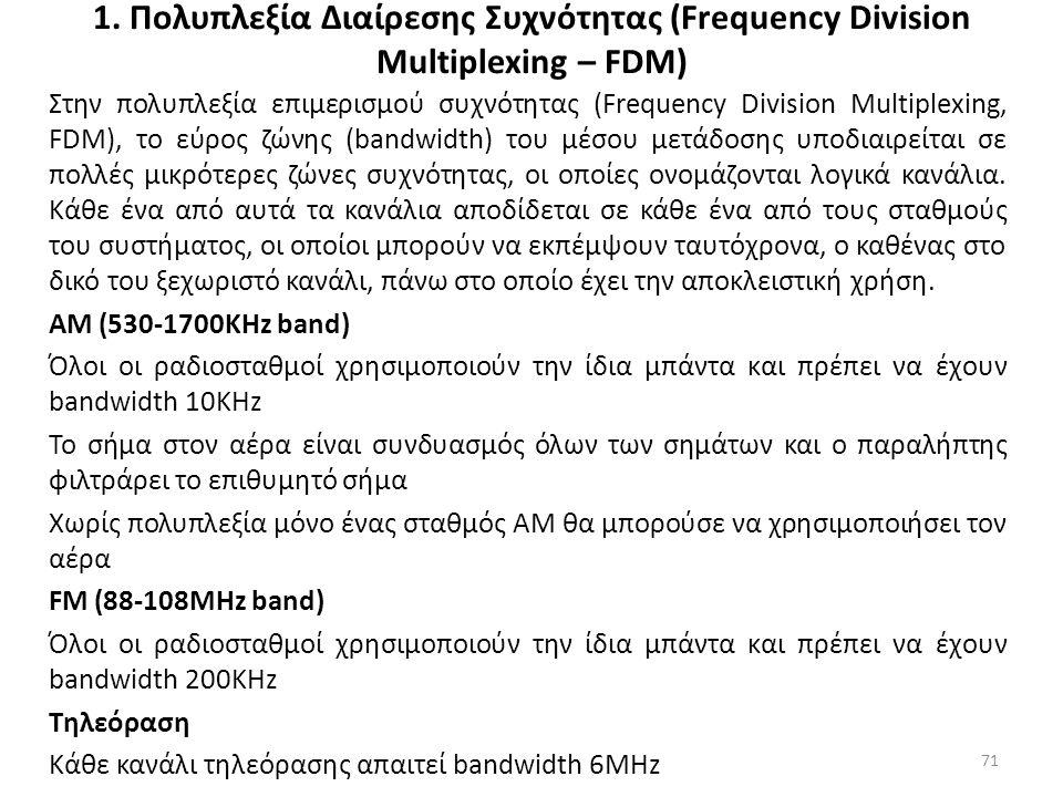 1. Πολυπλεξία Διαίρεσης Συχνότητας (Frequency Division Multiplexing – FDM) Στην πολυπλεξία επιμερισμού συχνότητας (Frequency Division Multiplexing, FD