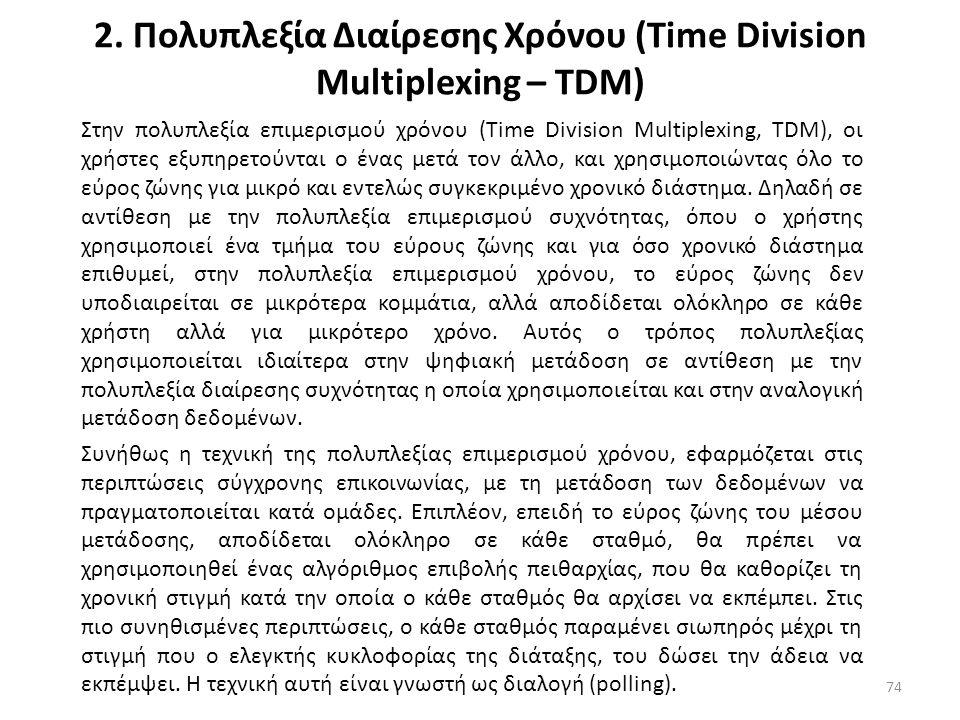 2. Πολυπλεξία Διαίρεσης Χρόνου (Time Division Multiplexing – TDM) Στην πολυπλεξία επιμερισμού χρόνου (Time Division Multiplexing, TDM), οι χρήστες εξυ