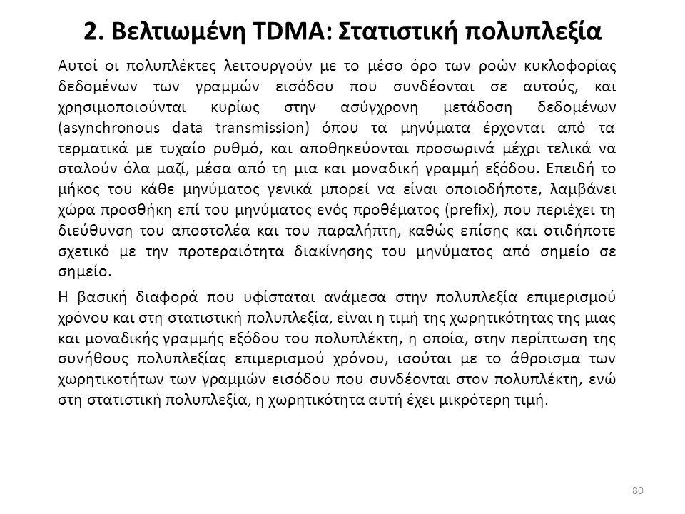 2. Βελτιωμένη TDMA: Στατιστική πολυπλεξία Αυτοί οι πολυπλέκτες λειτουργούν με το μέσο όρο των ροών κυκλοφορίας δεδομένων των γραμμών εισόδου που συνδέ