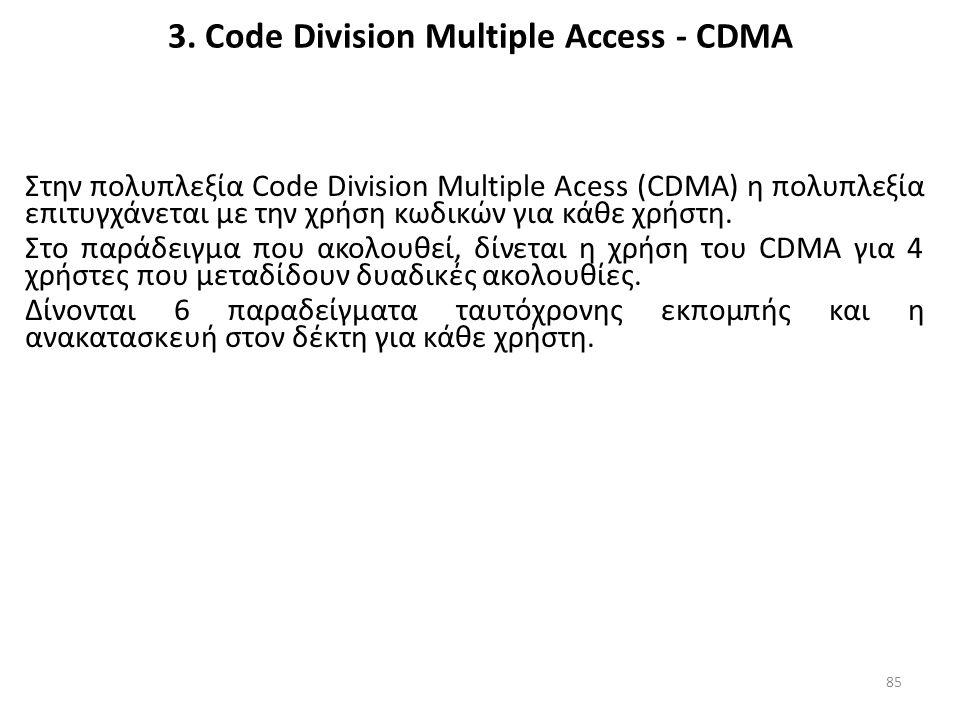 3. Code Division Multiple Access - CDMA Στην πολυπλεξία Code Division Multiple Acess (CDMA) η πολυπλεξία επιτυγχάνεται με την χρήση κωδικών για κάθε χ