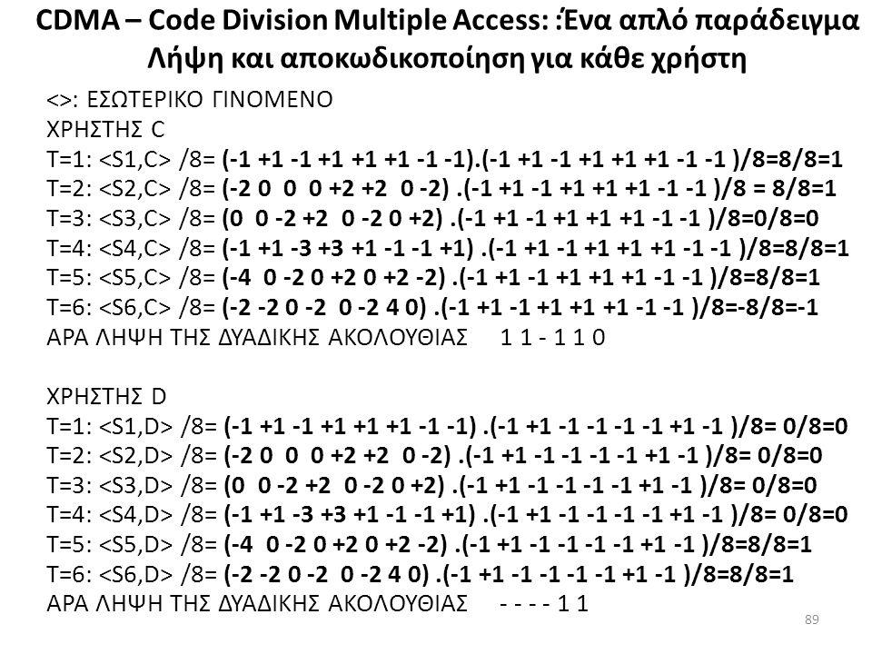 CDMA – Code Division Multiple Access: :Ένα απλό παράδειγμα Λήψη και αποκωδικοποίηση για κάθε χρήστη <>: ΕΣΩΤΕΡΙΚΟ ΓΙΝΟΜΕΝΟ ΧΡΗΣΤΗΣ C Τ=1: /8= (-1 +1 -1 +1 +1 +1 -1 -1).(-1 +1 -1 +1 +1 +1 -1 -1 )/8=8/8=1 Τ=2: /8= (-2 0 0 0 +2 +2 0 -2).(-1 +1 -1 +1 +1 +1 -1 -1 )/8 = 8/8=1 Τ=3: /8= (0 0 -2 +2 0 -2 0 +2).(-1 +1 -1 +1 +1 +1 -1 -1 )/8=0/8=0 Τ=4: /8= (-1 +1 -3 +3 +1 -1 -1 +1).(-1 +1 -1 +1 +1 +1 -1 -1 )/8=8/8=1 Τ=5: /8= (-4 0 -2 0 +2 0 +2 -2).(-1 +1 -1 +1 +1 +1 -1 -1 )/8=8/8=1 Τ=6: /8= (-2 -2 0 -2 0 -2 4 0).(-1 +1 -1 +1 +1 +1 -1 -1 )/8=-8/8=-1 ΑΡΑ ΛΗΨΗ ΤΗΣ ΔΥΑΔΙΚΗΣ ΑΚΟΛΟΥΘΙΑΣ 1 1 - 1 1 0 ΧΡΗΣΤΗΣ D Τ=1: /8= (-1 +1 -1 +1 +1 +1 -1 -1).(-1 +1 -1 -1 -1 -1 +1 -1 )/8= 0/8=0 Τ=2: /8= (-2 0 0 0 +2 +2 0 -2).(-1 +1 -1 -1 -1 -1 +1 -1 )/8= 0/8=0 Τ=3: /8= (0 0 -2 +2 0 -2 0 +2).(-1 +1 -1 -1 -1 -1 +1 -1 )/8= 0/8=0 Τ=4: /8= (-1 +1 -3 +3 +1 -1 -1 +1).(-1 +1 -1 -1 -1 -1 +1 -1 )/8= 0/8=0 Τ=5: /8= (-4 0 -2 0 +2 0 +2 -2).(-1 +1 -1 -1 -1 -1 +1 -1 )/8=8/8=1 Τ=6: /8= (-2 -2 0 -2 0 -2 4 0).(-1 +1 -1 -1 -1 -1 +1 -1 )/8=8/8=1 ΑΡΑ ΛΗΨΗ ΤΗΣ ΔΥΑΔΙΚΗΣ ΑΚΟΛΟΥΘΙΑΣ - - - - 1 1 89