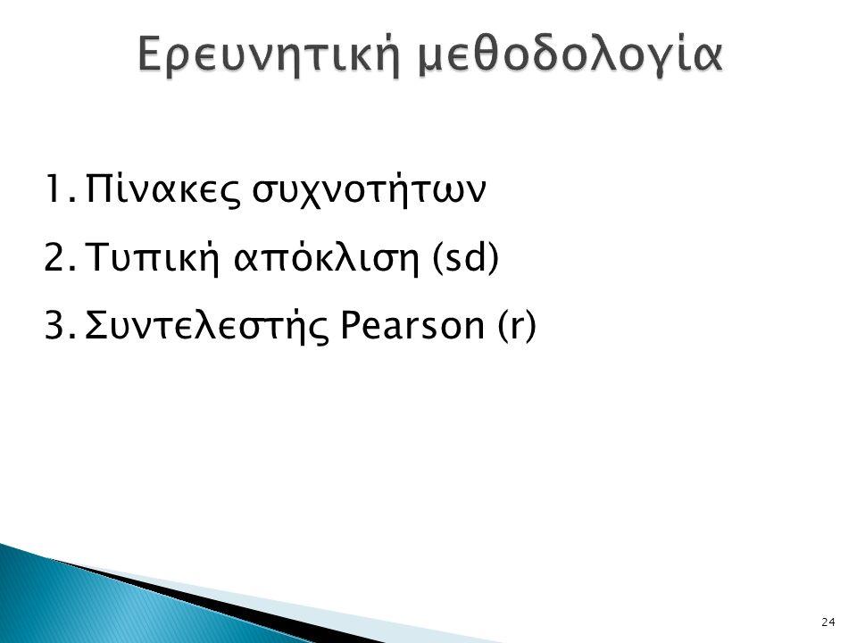 24 1.Πίνακες συχνοτήτων 2.Τυπική απόκλιση (sd) 3.Συντελεστής Pearson (r)