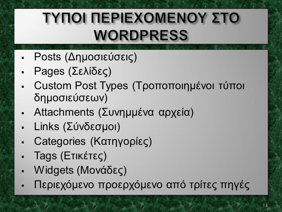  Posts (Δημοσιεύσεις)  Pages (Σελίδες)  Custom Post Types (Τροποποιημένοι τύποι δημοσιεύσεων)  Attachments (Συνημμένα αρχεία)  Links (Σύνδεσμοι)  Categories (Κατηγορίες)  Tags (Ετικέτες)  Widgets (Μονάδες)  Περιεχόμενο προερχόμενο από τρίτες πηγές  Posts (Δημοσιεύσεις)  Pages (Σελίδες)  Custom Post Types (Τροποποιημένοι τύποι δημοσιεύσεων)  Attachments (Συνημμένα αρχεία)  Links (Σύνδεσμοι)  Categories (Κατηγορίες)  Tags (Ετικέτες)  Widgets (Μονάδες)  Περιεχόμενο προερχόμενο από τρίτες πηγές 14