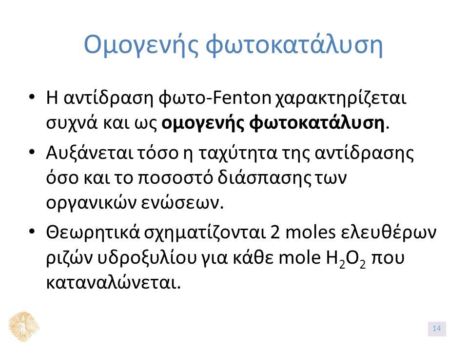 Ομογενής φωτοκατάλυση Η αντίδραση φωτο-Fenton χαρακτηρίζεται συχνά και ως ομογενής φωτοκατάλυση. Αυξάνεται τόσο η ταχύτητα της αντίδρασης όσο και το π