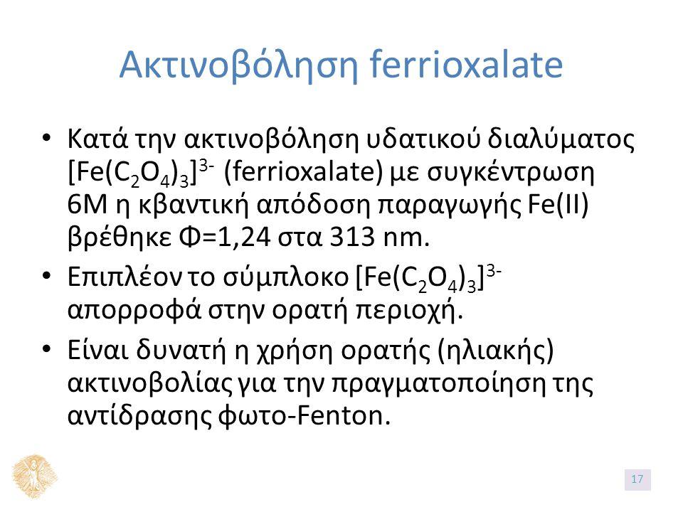 Ακτινοβόληση ferrioxalate Κατά την ακτινοβόληση υδατικού διαλύματος [Fe(C 2 O 4 ) 3 ] 3- (ferrioxalate) με συγκέντρωση 6Μ η κβαντική απόδοση παραγωγής