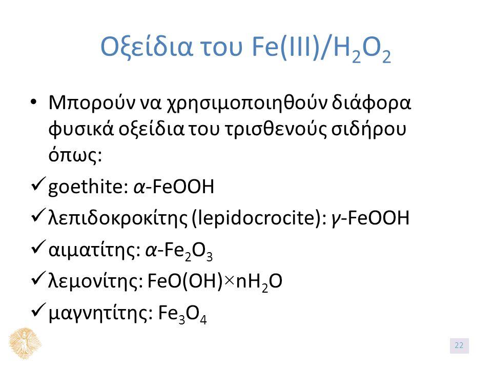 Οξείδια του Fe(IIΙ)/H 2 O 2 Μπορούν να χρησιμοποιηθούν διάφορα φυσικά οξείδια του τρισθενούς σιδήρου όπως: goethite: α-FeOOH λεπιδοκροκίτης (lepidocrocite): γ-FeOOH αιματίτης: α-Fe 2 O 3 λεμονίτης: FeO(OH)×nH 2 O μαγνητίτης: Fe 3 O 4 22