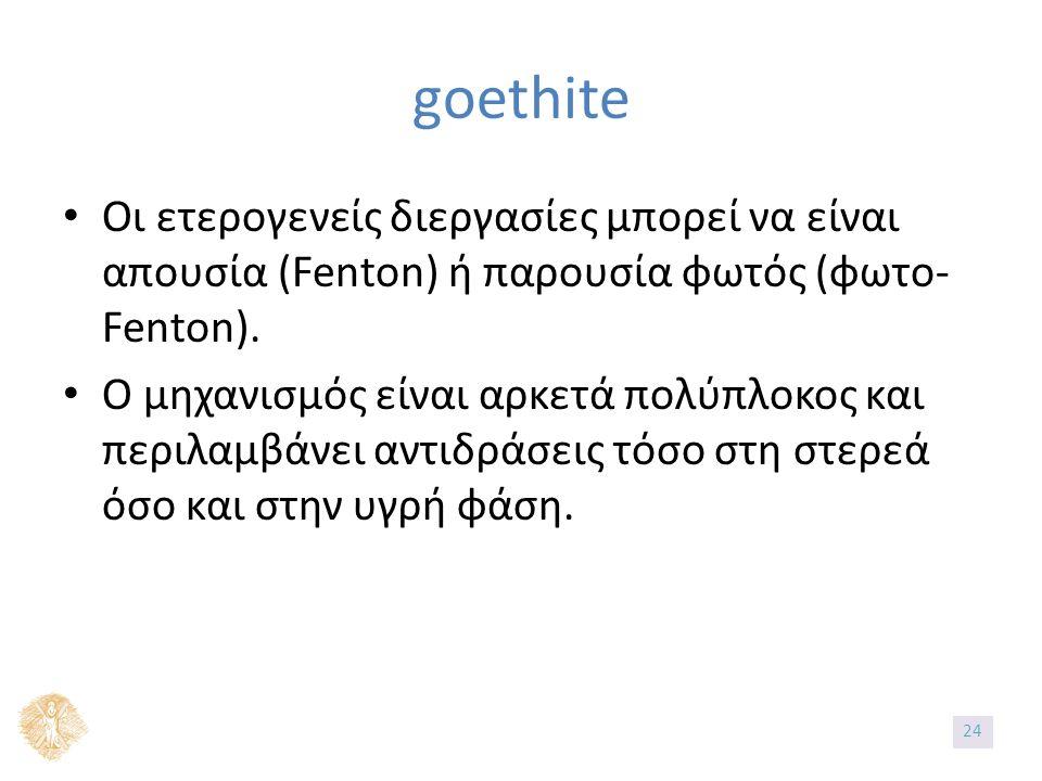 Οι ετερογενείς διεργασίες μπορεί να είναι απουσία (Fenton) ή παρουσία φωτός (φωτο- Fenton). Ο μηχανισμός είναι αρκετά πολύπλοκος και περιλαμβάνει αντι