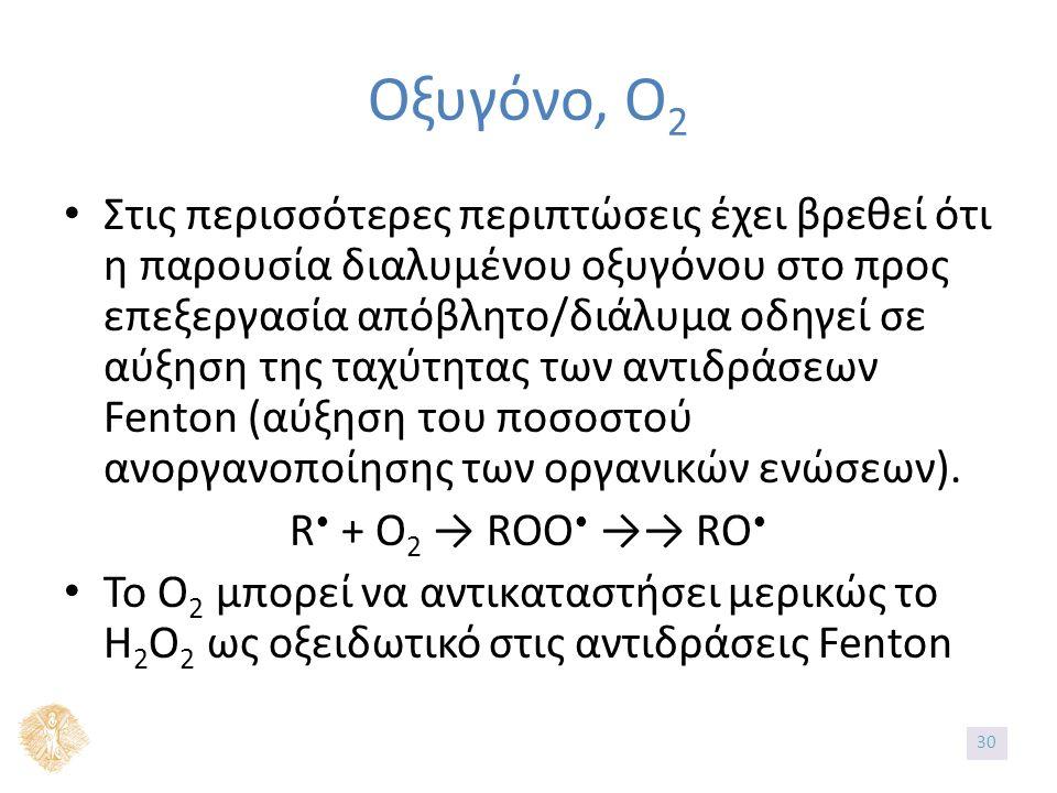 Οξυγόνο, O 2 Στις περισσότερες περιπτώσεις έχει βρεθεί ότι η παρουσία διαλυμένου οξυγόνου στο προς επεξεργασία απόβλητο/διάλυμα οδηγεί σε αύξηση της τ