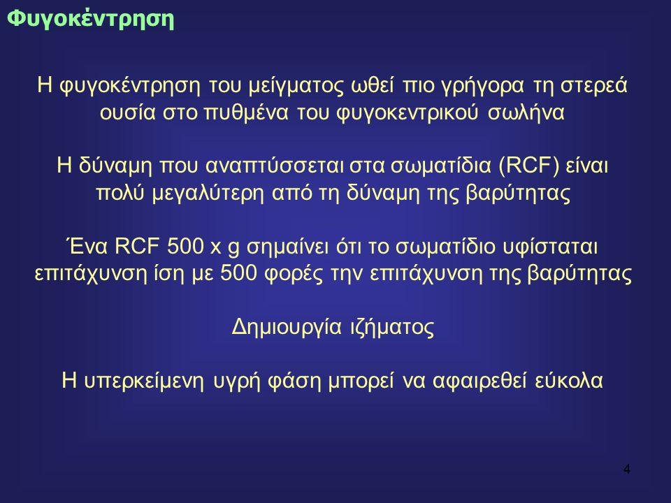 4 Η φυγοκέντρηση του μείγματος ωθεί πιο γρήγορα τη στερεά ουσία στο πυθμένα του φυγοκεντρικού σωλήνα Η δύναμη που αναπτύσσεται στα σωματίδια (RCF) είναι πολύ μεγαλύτερη από τη δύναμη της βαρύτητας Ένα RCF 500 x g σημαίνει ότι το σωματίδιο υφίσταται επιτάχυνση ίση με 500 φορές την επιτάχυνση της βαρύτητας Δημιουργία ιζήματος Η υπερκείμενη υγρή φάση μπορεί να αφαιρεθεί εύκολα Φυγοκέντρηση