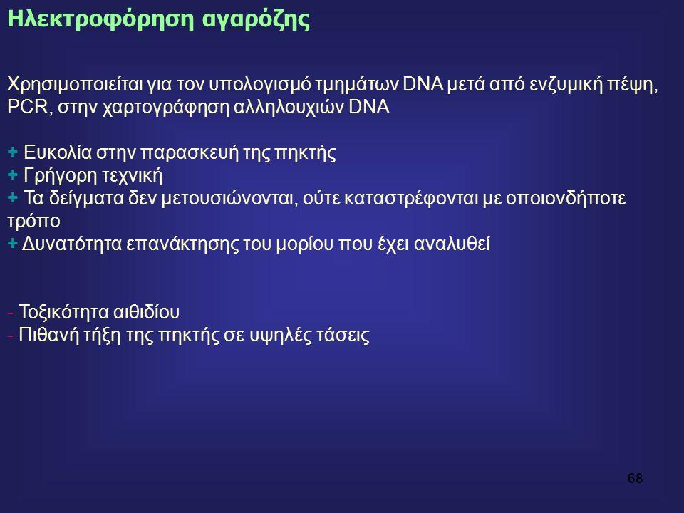 68 Χρησιμοποιείται για τον υπολογισμό τμημάτων DNA μετά από ενζυμική πέψη, PCR, στην χαρτογράφηση αλληλουχιών DNA + Ευκολία στην παρασκευή της πηκτής + Γρήγορη τεχνική + Τα δείγματα δεν μετουσιώνονται, ούτε καταστρέφονται με οποιονδήποτε τρόπο + Δυνατότητα επανάκτησης του μορίου που έχει αναλυθεί - Τοξικότητα αιθιδίου - Πιθανή τήξη της πηκτής σε υψηλές τάσεις Ηλεκτροφόρηση αγαρόζης