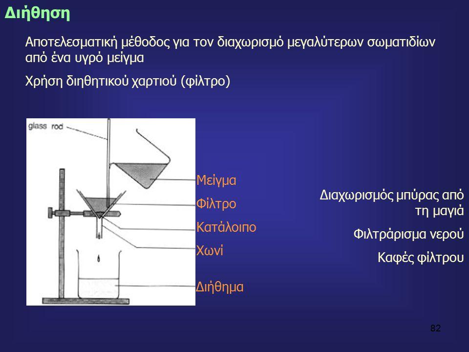 82 Διήθηση Αποτελεσματική μέθοδος για τον διαχωρισμό μεγαλύτερων σωματιδίων από ένα υγρό μείγμα Χρήση διηθητικού χαρτιού (φίλτρο) Μείγμα Φίλτρο Κατάλοιπο Χωνί Διήθημα Διαχωρισμός μπύρας από τη μαγιά Φιλτράρισμα νερού Καφές φίλτρου