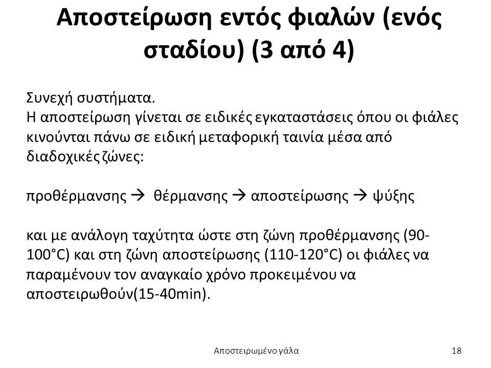 Αποστείρωση εντός φιαλών (ενός σταδίου) (3 από 4) Συνεχή συστήματα. Η αποστείρωση γίνεται σε ειδικές εγκαταστάσεις όπου οι φιάλες κινούνται πάνω σε ει
