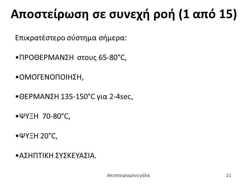 Αποστείρωση σε συνεχή ροή (1 από 15) Επικρατέστερο σύστημα σήμερα: ΠΡΟΘΕΡΜΑΝΣΗ στους 65-80°C, ΟΜΟΓΕΝΟΠΟΙΗΣΗ, ΘΕΡΜΑΝΣΗ 135-150°C για 2-4sec, ΨΥΞΗ 70-80