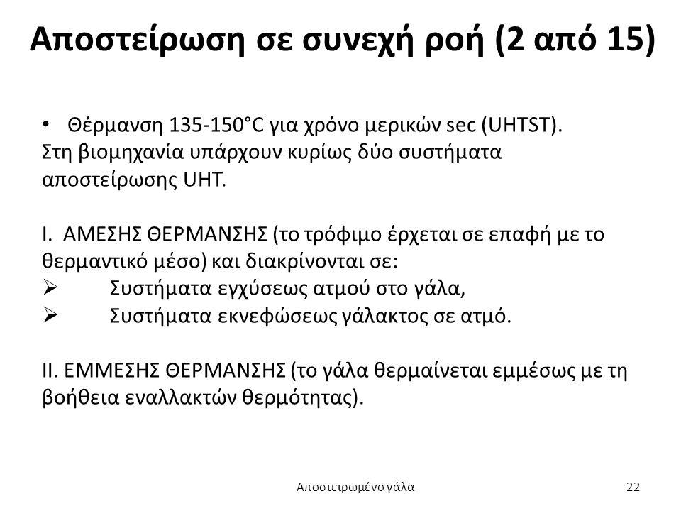 Αποστείρωση σε συνεχή ροή (2 από 15) Θέρμανση 135-150°C για χρόνο μερικών sec (UHTST). Στη βιομηχανία υπάρχουν κυρίως δύο συστήματα αποστείρωσης UHT.