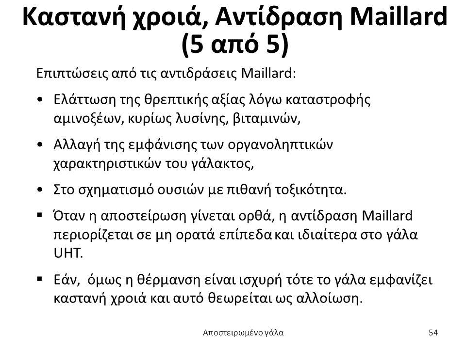Καστανή χροιά, Αντίδραση Maillard (5 από 5) Επιπτώσεις από τις αντιδράσεις Maillard: Ελάττωση της θρεπτικής αξίας λόγω καταστροφής αμινοξέων, κυρίως λ