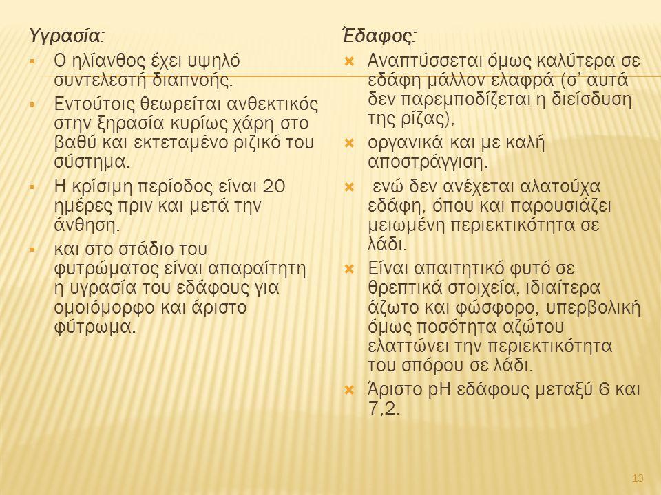 Υγρασία:  Ο ηλίανθος έχει υψηλό συντελεστή διαπνοής.  Εντούτοις θεωρείται ανθεκτικός στην ξηρασία κυρίως χάρη στο βαθύ και εκτεταμένο ριζικό του σύσ