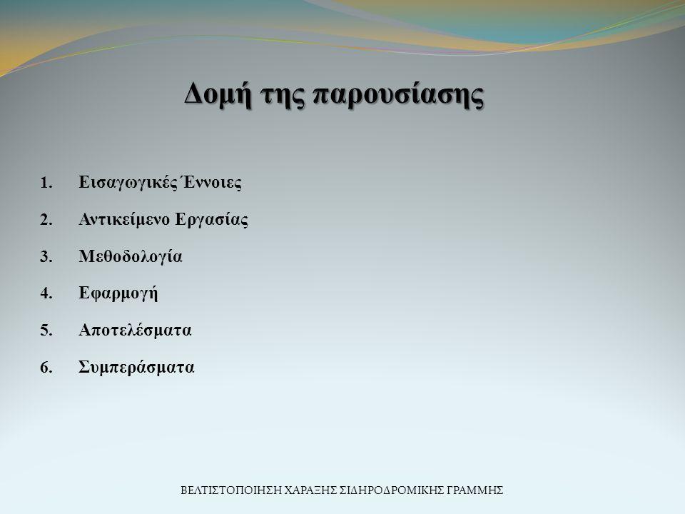 1. Εισαγωγικές Έννοιες 2. Αντικείμενο Εργασίας 3. Μεθοδολογία 4. Εφαρμογή 5. Αποτελέσματα 6. Συμπεράσματα ΒΕΛΤΙΣΤΟΠΟΙΗΣΗ ΧΑΡΑΞΗΣ ΣΙΔΗΡΟΔΡΟΜΙΚΗΣ ΓΡΑΜΜΗ