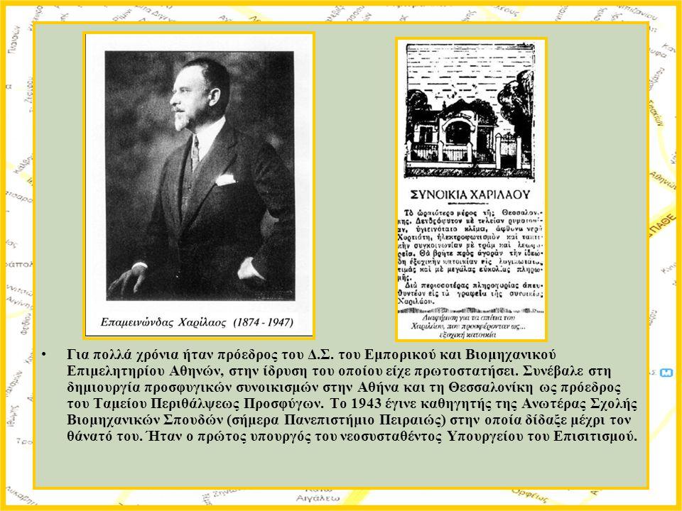 Για πολλά χρόνια ήταν πρόεδρος του Δ.Σ. του Εμπορικού και Βιομηχανικού Επιμελητηρίου Αθηνών, στην ίδρυση του οποίου είχε πρωτοστατήσει. Συνέβαλε στη δ