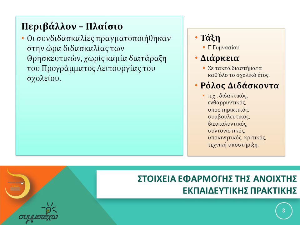 ΑΝΑΛΥΤΙΚΗ ΠΕΡΙΓΡΑΦΗ ΤΗΣ ΑΝΟΙΧΤΗΣ ΕΚΠΑΙΔΕΥΤΙΚΗΣ ΠΡΑΚΤΙΚΗΣ 9  Οι συνδιδασκαλίες πραγματοποιήθηκαν στην ώρα διδασκαλίας των Θρησκευτικών, χωρίς καμία διατάραξη του Προγράμματος Λειτουργίας του σχολείου, σύμφωνα με την παρακάτω σειρά :  α ) « Η σημασία του θεσμού της οικογένειας για την κοινωνία », βάσει της ενότητας των Θρησκευτικών : « Ποιος είναι ο άνθρωπος ( άρσεν και θήλυ εποίησεν αυτούς ) Ο σκοπός και το νόημα της ζωής του ανθρώπου ».