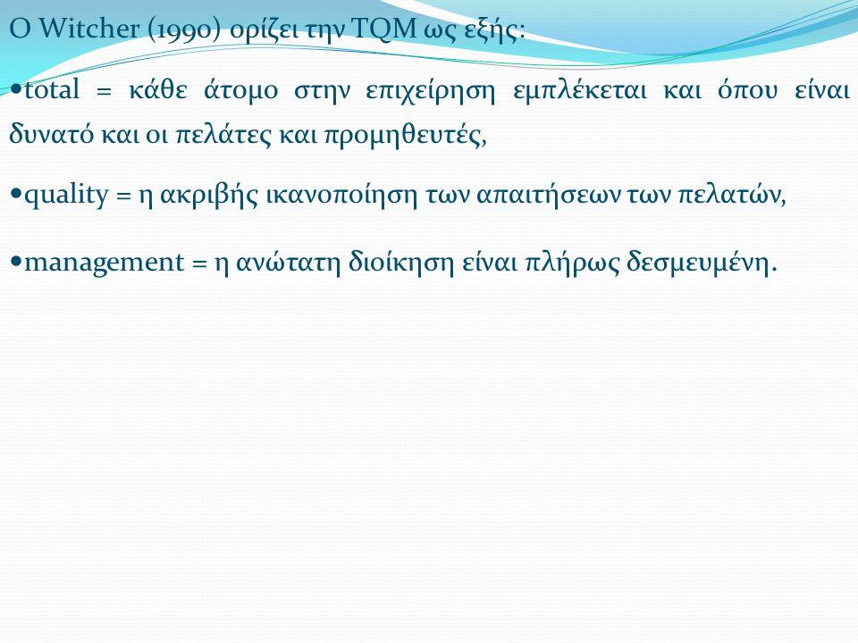 Ο Witcher (1990) ορίζει την TQM ως εξής: total = κάθε άτομο στην επιχείρηση εμπλέκεται και όπου είναι δυνατό και οι πελάτες και προμηθευτές, quality = η ακριβής ικανοποίηση των απαιτήσεων των πελατών, management = η ανώτατη διοίκηση είναι πλήρως δεσμευμένη.