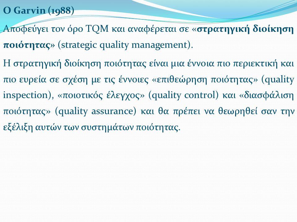 Ο Garvin (1988) Αποφεύγει τον όρο TQM και αναφέρεται σε «στρατηγική διοίκηση ποιότητας» (strategic quality management).