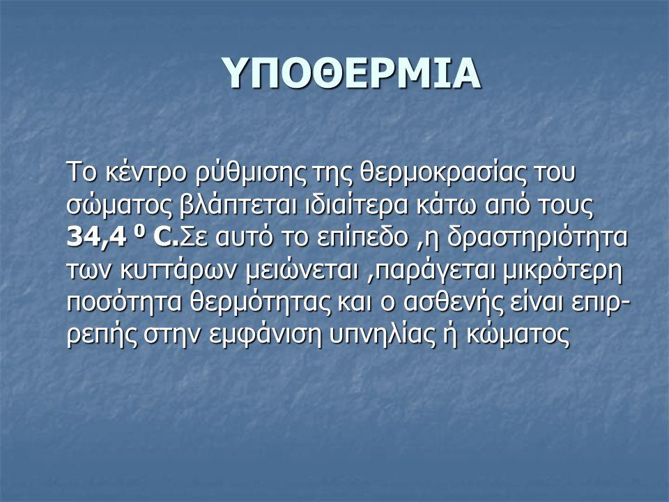 ΥΠΟΘΕΡΜΙΑ Το κέντρο ρύθμισης της θερμοκρασίας του σώματος βλάπτεται ιδιαίτερα κάτω από τους 34,4 0 C.Σε αυτό το επίπεδο,η δραστηριότητα των κυττάρων μ