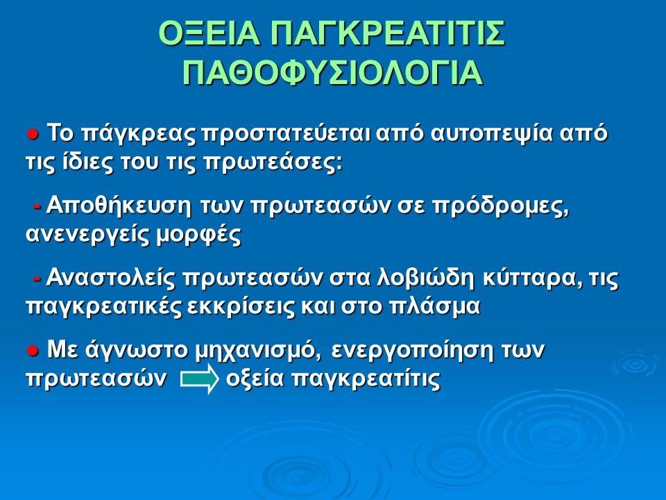 ΟΞΕΙΑ ΠΑΓΚΡΕΑΤΙΤΙΣ ΠΑΘΟΦΥΣΙΟΛΟΓΙΑ ● Το πάγκρεας προστατεύεται από αυτοπεψία από τις ίδιες του τις πρωτεάσες: - Αποθήκευση των πρωτεασών σε πρόδρομες, ανενεργείς μορφές - Αποθήκευση των πρωτεασών σε πρόδρομες, ανενεργείς μορφές - Αναστολείς πρωτεασών στα λοβιώδη κύτταρα, τις παγκρεατικές εκκρίσεις και στο πλάσμα - Αναστολείς πρωτεασών στα λοβιώδη κύτταρα, τις παγκρεατικές εκκρίσεις και στο πλάσμα ● Με άγνωστο μηχανισμό, ενεργοποίηση των πρωτεασών οξεία παγκρεατίτις