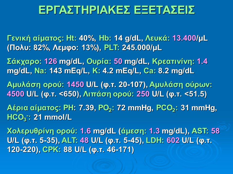 ΕΡΓΑΣΤΗΡΙΑΚΕΣ ΕΞΕΤΑΣΕΙΣ Γενική αίματος: Ht: 40%, Hb: 14 g/dL, Λευκά: 13.400/μL (Πολυ: 82%, Λεμφο: 13%), PLT: 245.000/μL Σάκχαρο: 126 mg/dL, Ουρία: 50 mg/dL, Κρεατινίνη: 1.4 mg/dL, Na: 143 mEq/L, K: 4.2 mEq/L, Ca: 8.2 mg/dL Αμυλάση ορού: 1450 U/L (φ.τ.