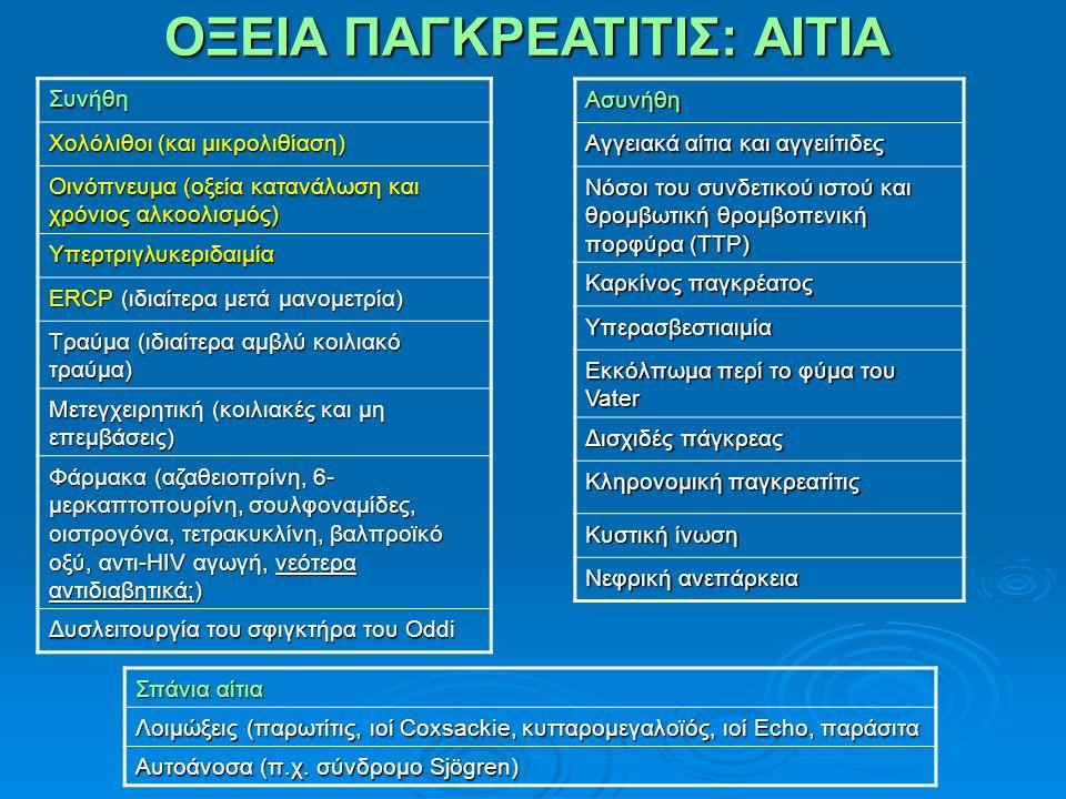 ΟΞΕΙΑ ΠΑΓΚΡΕΑΤΙΤΙΣ: ΑΙΤΙΑ Συνήθη Χολόλιθοι (και μικρολιθίαση) Οινόπνευμα (οξεία κατανάλωση και χρόνιος αλκοολισμός) Υπερτριγλυκεριδαιμία ERCP (ιδιαίτερα μετά μανομετρία) Τραύμα (ιδιαίτερα αμβλύ κοιλιακό τραύμα) Μετεγχειρητική (κοιλιακές και μη επεμβάσεις) Φάρμακα (αζαθειοπρίνη, 6- μερκαπτοπουρίνη, σουλφοναμίδες, οιστρογόνα, τετρακυκλίνη, βαλπροϊκό οξύ, αντι-HIV αγωγή, νεότερα αντιδιαβητικά;) Δυσλειτουργία του σφιγκτήρα του Oddi Ασυνήθη Αγγειακά αίτια και αγγειίτιδες Νόσοι του συνδετικού ιστού και θρομβωτική θρομβοπενική πορφύρα (TTP) Καρκίνος παγκρέατος Υπερασβεστιαιμία Εκκόλπωμα περί το φύμα του Vater Δισχιδές πάγκρεας Κληρονομική παγκρεατίτις Κυστική ίνωση Νεφρική ανεπάρκεια Σπάνια αίτια Λοιμώξεις (παρωτίτις, ιοί Coxsackie, κυτταρομεγαλοϊός, ιοί Echo, παράσιτα Αυτοάνοσα (π.χ.