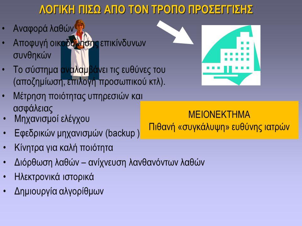 ΛΟΓΙΚΗ ΠΙΣΩ ΑΠΟ ΤΟΝ ΤΡΟΠΟ ΠΡΟΣΕΓΓΙΣΗΣ Αναφορά λαθών Αποφυγή οικοδόμησης επικίνδυνων συνθηκών Το σύστημα αναλαμβάνει τις ευθύνες του (αποζημίωση, επιλο