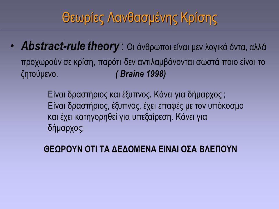 Θεωρίες Λανθασμένης Κρίσης Abstract-rule theory : Οι άνθρωποι είναι μεν λογικά όντα, αλλά προχωρούν σε κρίση, παρότι δεν αντιλαμβάνονται σωστά ποιο εί