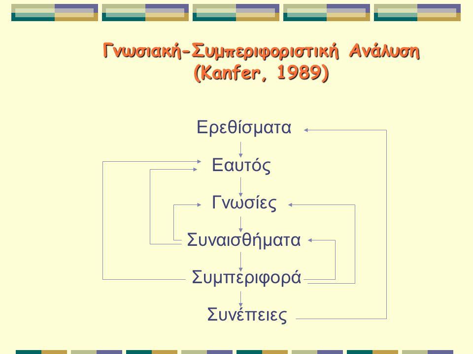 Γνωσιακή-Συμπεριφοριστική Ανάλυση (Kanfer, 1989) Ερεθίσματα Εαυτός Γνωσίες Συναισθήματα Συμπεριφορά Συνέπειες