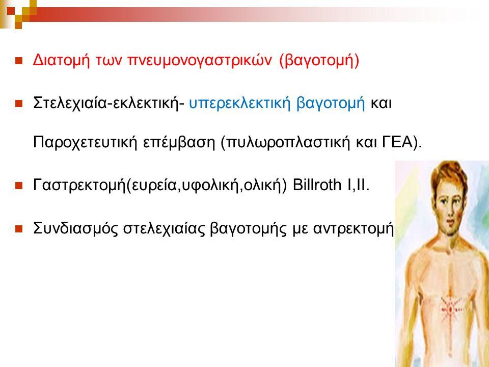 Διατομή των πνευμονογαστρικών (βαγοτομή) Στελεχιαία-εκλεκτική- υπερεκλεκτική βαγοτομή και Παροχετευτική επέμβαση (πυλωροπλαστική και ΓΕΑ).