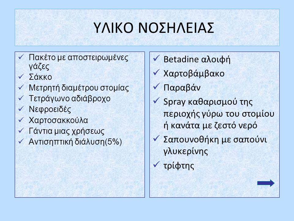 ΥΛΙΚΟ ΝΟΣΗΛΕΙΑΣ Πακέτο με αποστειρωμένες γάζες Σάκκο Μετρητή διαμέτρου στομίας Τετράγωνο αδιάβροχο Νεφροειδές Χαρτοσακκούλα Γάντια μιας χρήσεως Αντισηπτική διάλυση(5%) Betadine αλοιφή Χαρτοβάμβακο Παραβάν Spray καθαρισμού της περιοχής γύρω του στομίου ή κανάτα με ζεστό νερό Σαπουνοθήκη με σαπούνι γλυκερίνης τρίφτης